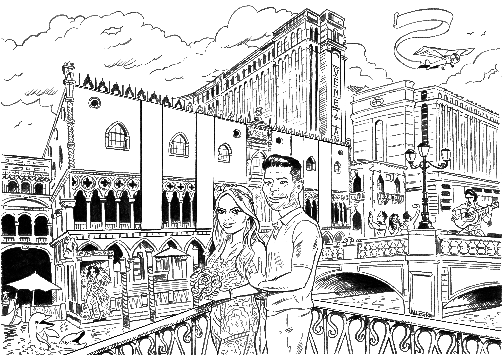 Wedding Cartoon inked