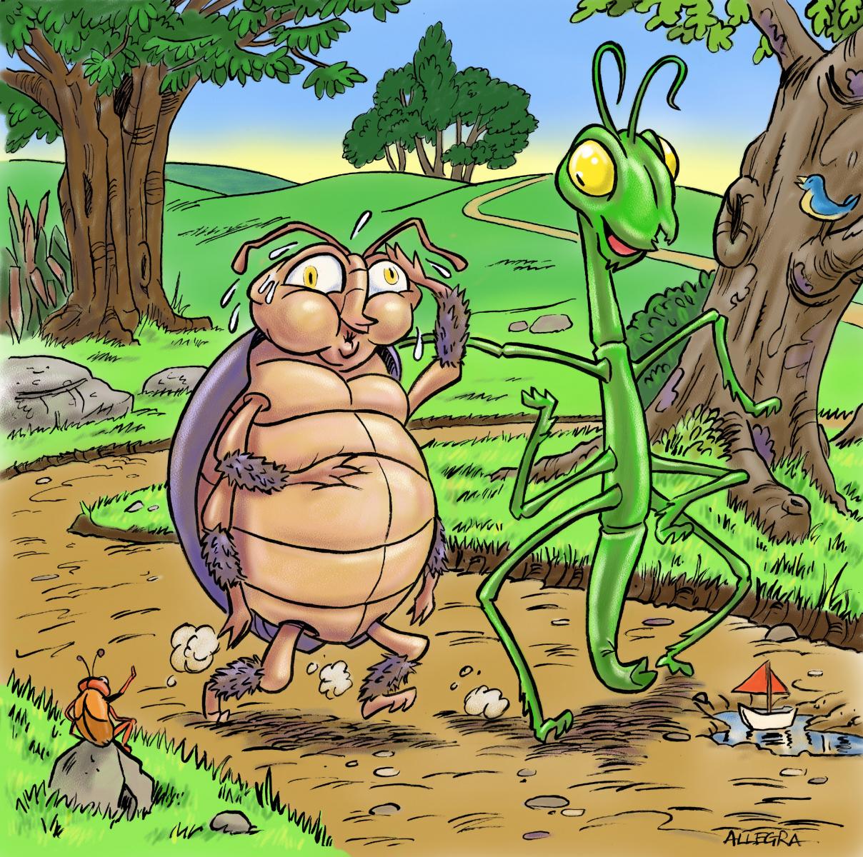 Two bugs walking