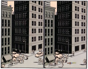Superman falls, by Chris Ware